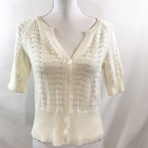 J. Jill Cream Ivory Knit V-Neck Cardigan Sweater